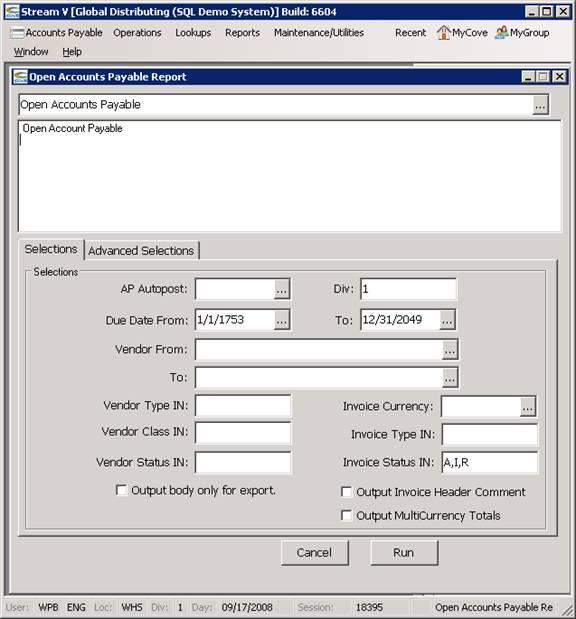 StreamV ERP Software Help - Open invoice software